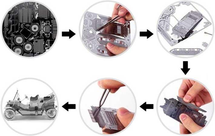 Assemblage puzzle 3D metal